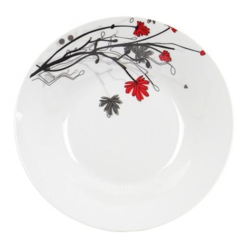 Farfurie adanca EX9342, portelan, alb + model multicolor, 20 cm