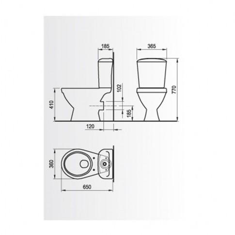 Set vas WC + rezervor + mecanism + capac Mira WQ8F4256000LTS1, din portelan, 36 x 77 x 65 cm