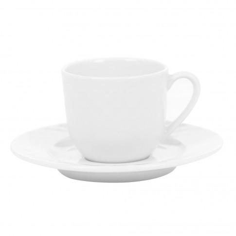 Ceasca si farfurioara cafea 8620008, portelan, alb, 120 ml
