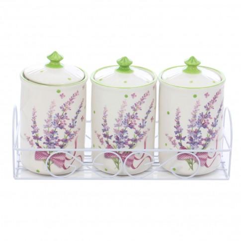 Recipiente pentru bucatarie + suport HC3D01AJ-H24, alb + verde + mov, ceramica + metal, 9.8 x 16.5 cm, set 4 bucati