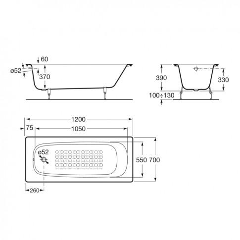 Cada baie rectangulara Roca Continental A211506001, fonta, 120 x 70 cm