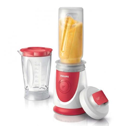 Blender Philips HR2872/00, 350 W, 1 treapta de viteza, 0.6 l, bol plastic gradat, rosu + alb, 1 recipient gradat din sticla On-the-Go