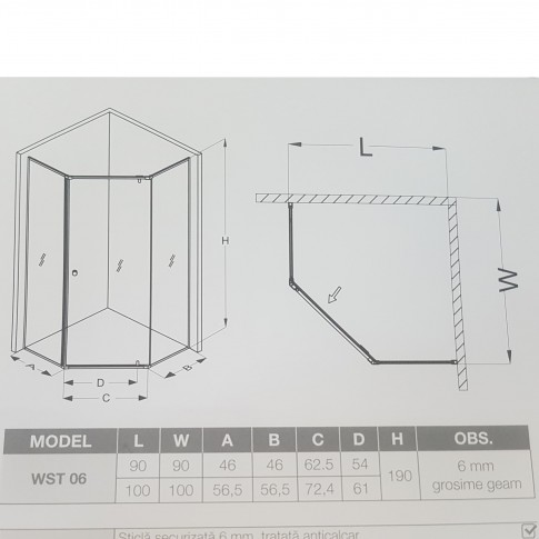 Cabina dus fara cadita WST06, 90 x 90 x 190 cm