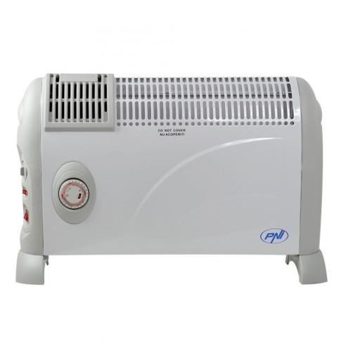 Convector electric PNI Turbo Heat, 3 trepte, 2000 W, 650 x 170 x 420 mm, termostat reglabil, ventilatie, timer