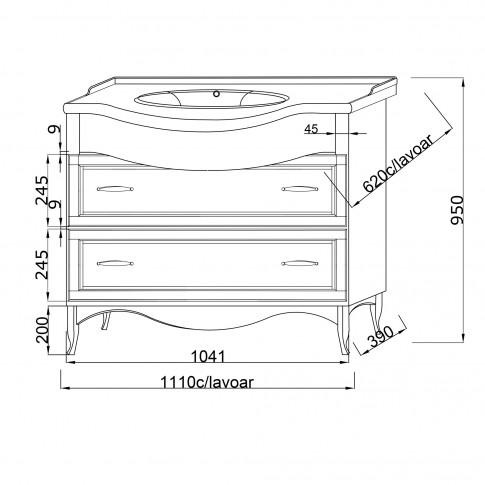 Mobilier baie baza + lavoar Savini Due Daiana 7082, cu sertare, nuc, 114 x 93 x 62.5 cm
