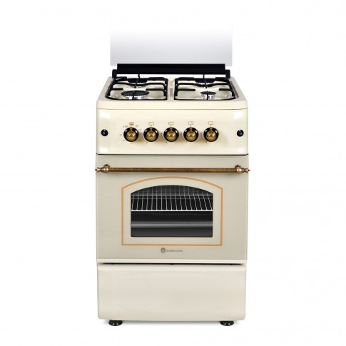 Aragaz pe gaz Studio Casa Cremona FE 50/55G, 4 arzatoare, aprindere electrica, grill, latime 50 cm, bej