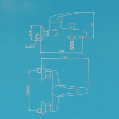 Baterie baie pentru cada / dus, Kadda Easy MY 3555-3 + accesorii, montaj aplicat, monocomanda, finisaj cromat