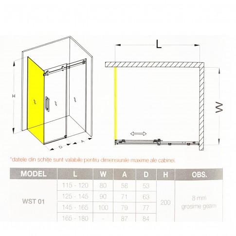 Perete fix pentru cabina dus, sticla, West PL100WST01, 100 x 200 cm