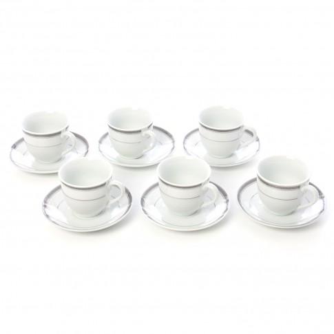 Ceasca si farfurioara Superwhite G2259, set 12 piese, portelan, alb + argintiu, 200 ml