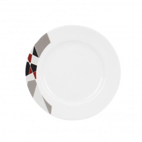 Farfurie adanca EX9241B, portelan, argintiu + gri + negru, 21 cm