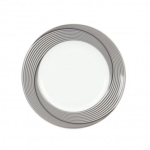 Farfurie intinsa mica EY3081, portelan, argintiu + gri + negru, 19 cm