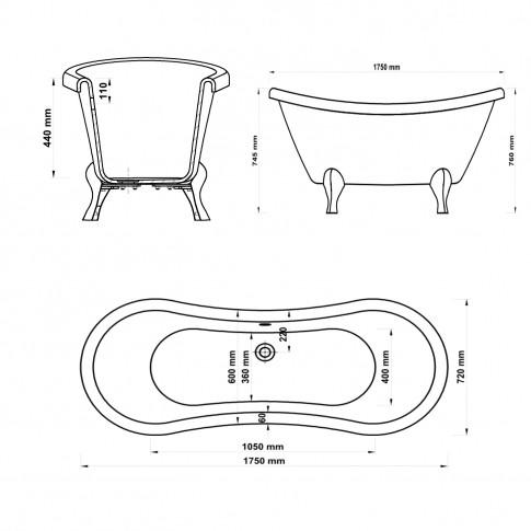 Cada baie ovala West Anastasis, acril, 175 x 72 cm + suport