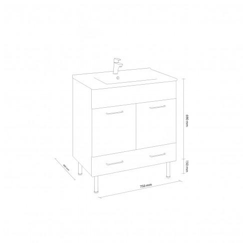 Masca baie + lavoar slim Martplast Star 750, cu usi si sertare, 75 x 46 x 84 cm