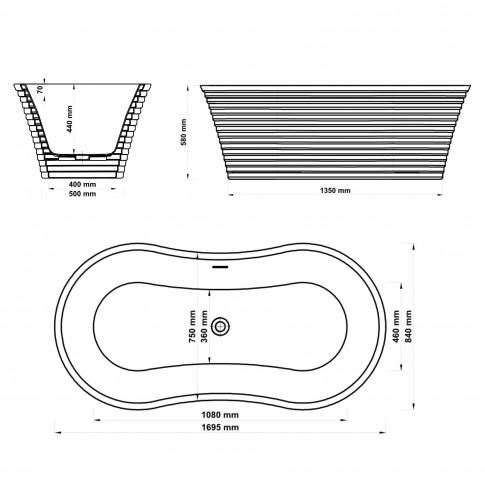 Cada baie ovala West Ranya, acril, 170 x 84