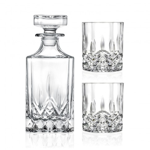 Pahar + sticla whisky, Opera, din cristal, 210 + 750 ml, set 3 bucati
