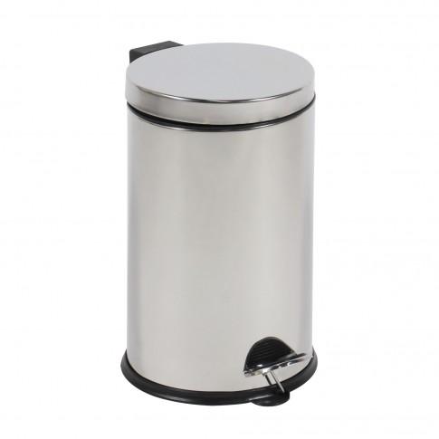 Cos gunoi BCK412400 din inox + plastic, forma cilindrica, cromat, cu pedala si capac batant, 12L