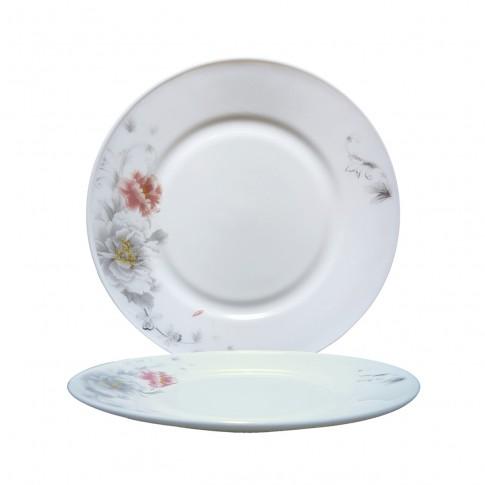 Farfurie desert DEC 4 2802014, sticla opal, 20 cm, alb + model floral multicolor