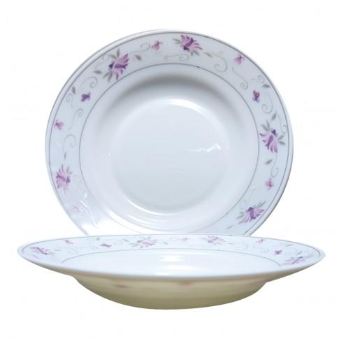 Farfurie adanca DEC 2 2802022, sticla opal, 22.5 cm, alb + model floral multicolor