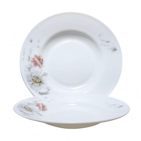 Farfurie adanca DEC 4 2802024, sticla opal, 22.5 cm, alb + model floral multicolor