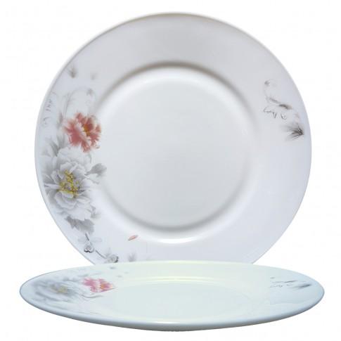 Farfurie intinsa DEC 4 2802034, sticla opal, 25 cm, alb + model floral multicolor