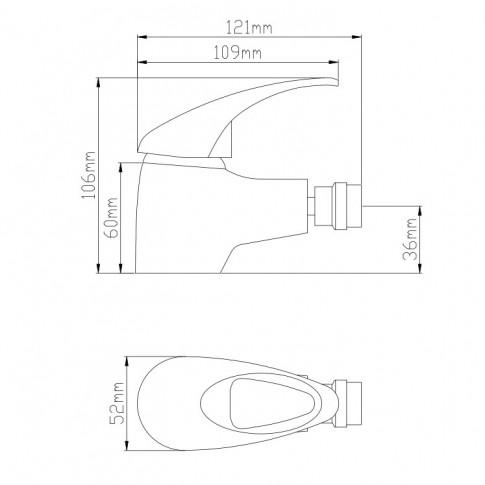 Baterie baie pentru bideu Frame ZS53404, monocomanda, finisaj cromat