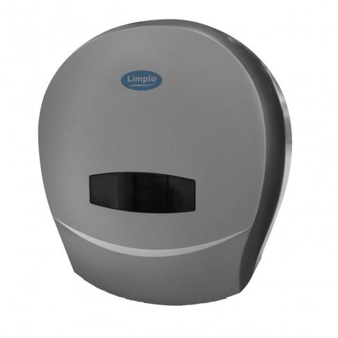 Dispenser hartie igienica Jumbo Limpio DP 1200JS2, plastic ABS, argintiu lucios, 26 x 13 cm