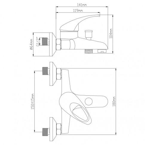 Baterie baie pentru cada / dus, Frame 40ZS53401, montaj aplicat, monocomanda, finisaj cromat + accesorii