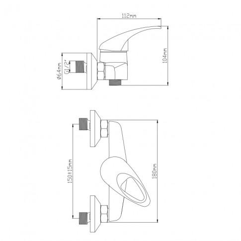 Baterie baie pentru dus, Frame ZS53402S, monocomanda, montaj aplicat, finisaj cromat