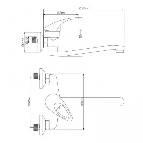 Baterie baie pentru lavoar, Frame ZS53402W, montaj aplicat, monocomanda, finisaj cromat