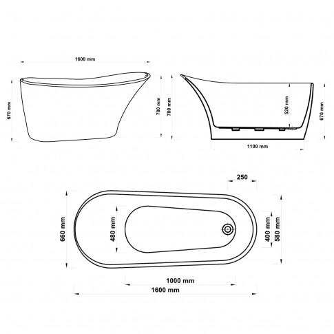 Cada baie freestanding, ovala, West Roya, acril, 160 x 66 cm