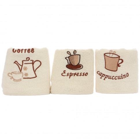 Prosop bucatarie, model fructe / cafea, bumbac, 50 x 30 cm, set 3 bucati, diverse modele