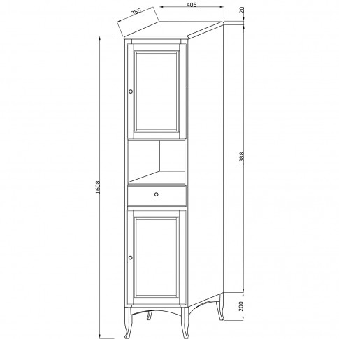 Dulap baie pe sol, 2 usi, cu sertar si usi, Savini Due Daiana 7092D/41, decape alb, deschidere dreapta, 161 x 40.5 c