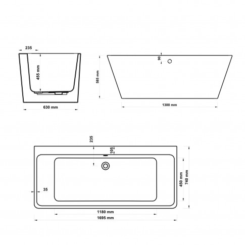 Cada baie rectangulara West Tabitha, acril, 170 x 74 cm