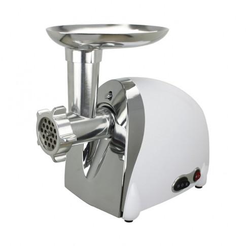 Masina de tocat carnea, electrica, Meister HRH-2150R, functie Reverse, 1.2 kg/min, 1200 W, alb cu gri + accesoriu suc rosii