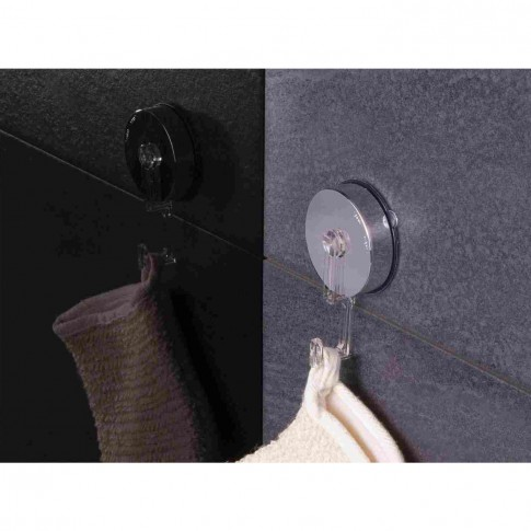 Cuier baie Davo Pro 12110100 cromat, montaj pe perete, cu ventuza, rotund, argintiu, 1 agatatoare
