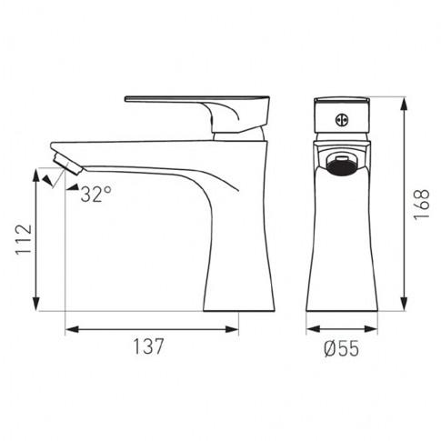 Baterie baie pentru lavoar, Ferro Platto, montaj stativ, monocomanda, finisaj cromat