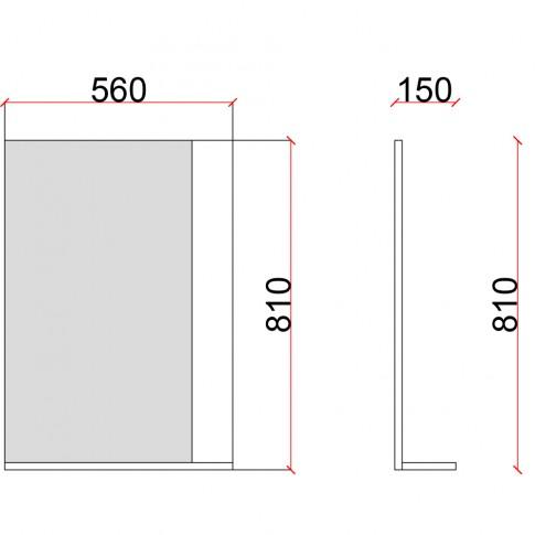 Oglinda baie cu etajera, Martplast Reflex 600 New, alb, 56 x 81 cm