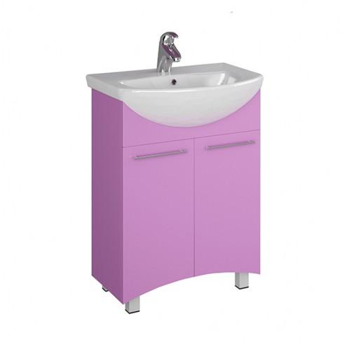 Masca baie pentru lavoar, Martplast Reflex 600, cu usi, lila, 56 x 34 x 85 cm