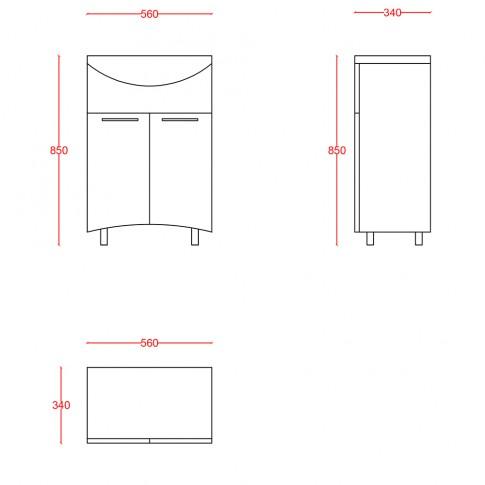 Masca baie pentru lavoar, Martplast Reflex 600, cu usi, bordeaux, 56 x 34 x 85 cm