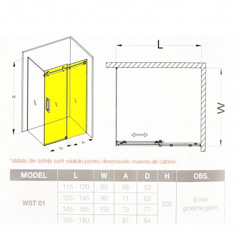 Usa culisanta pentru cabina dus, sticla, West UC115WST01 01, 164 - 180 x 200 cm