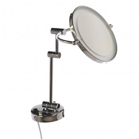 Oglinda cosmetica pentru baie, HSY1001, montaj pe perete, cu iluminare LED, D - 20 cm