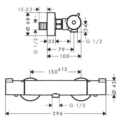 Pachet baterie baie termostatata + para + bara + furtun Hansgrohe Crometta Vario, 2 functii, 1.6 m