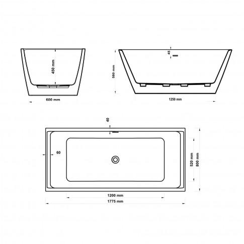 Cada baie freestanding, rectangulara, West Hades, acril, negru, 178 x 80