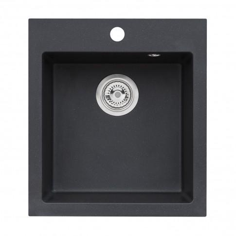 Chiuveta bucatarie compozit granit Alveus Boogie 20 A91 1812091 negru patrata 50 x 45 cm