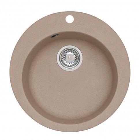 Chiuveta bucatarie compozit granit Alveus Victoria 10 A55 bej rotunda diametru de 51 mm + baterie Diana A55