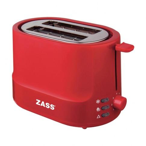 Prajitor de paine Zass ZST 10 RL, 850 W, 2 felii, functie decongelare, functie reincalzire, 7 trepte putere, rosu