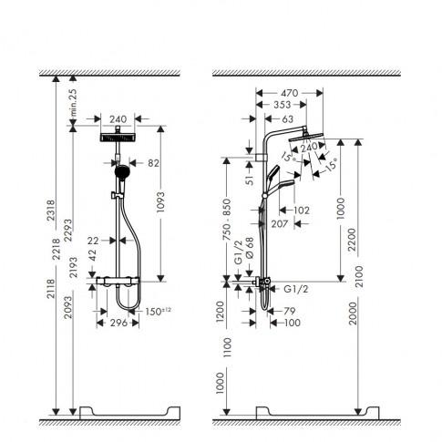 Sistem dus, Hansgrohe Crometta E240