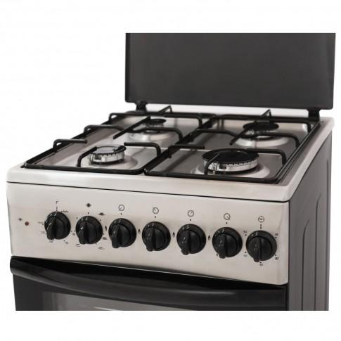 Aragaz electric / gaz Samus SM550NSSE, 4 arzatoare gaz, cuptor electric, 4 functii, dispozitiv siguranta plita, timer, capacitate cuptor 48 l, latime 50 cm, argintiu