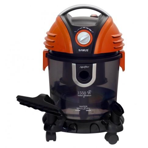 Aspirator Samus Aquafilter Orange, cu filtrare prin apa, fara sac, 15 l, 1550 W, filtru HEPA, aspirare umeda si uscata, functie suflare aer, negru cu portocaliu