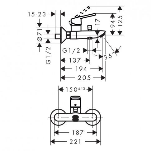 Baterie baie pentru cada / dus, Hansgrohe Logis Loop 71244000, montaj aplicat, monocomanda, finisaj cromat